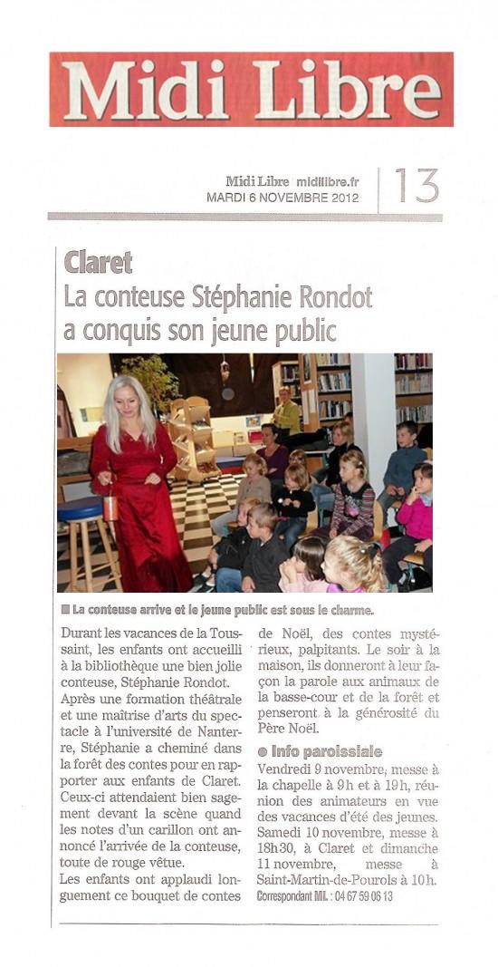 Midi Libre 6 novembre 2012